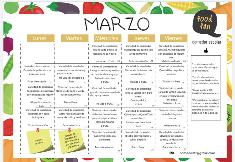 Comedor - Menú Mensual - Instituto Técnico Renault